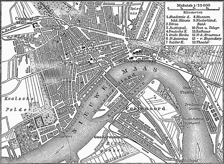 Map of Rotterdam around 1885
